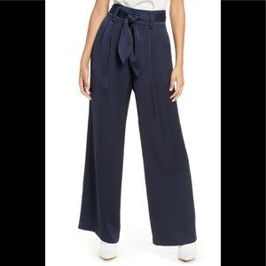 Eliza J Navy High Waist Wide Leg Satin Pants sz 6